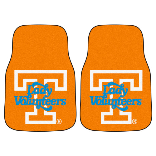 """Set of 2 Orange and Blue NCAA University of Tennessee Volunteers Front Carpet Car Mats 17"""" x 27"""" - IMAGE 1"""
