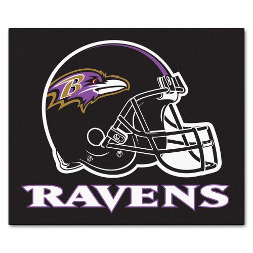 "59.5"" x 71"" Black and White NFL Baltimore Ravens Tailgater Mat Rectangular Outdoor Area Rug - IMAGE 1"