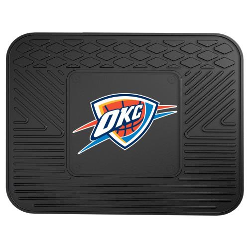 """14"""" x 17"""" Black and White NBA Oklahoma City Thunder Heavy Duty Rear Car Seat Utility Mat - IMAGE 1"""