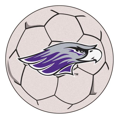 "27"" White and Purple NCAA University of Wisconsin Whitewater Warhawks Soccer Ball Round Mat - IMAGE 1"