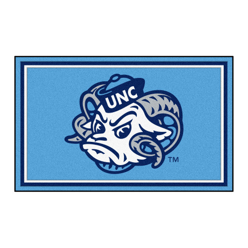 3.6' x 5.9' Blue and White NCAA UNC Chapel Hill Tar Heels Ultra Plush Rectangular Area Rug - IMAGE 1