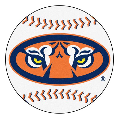 "27"" White and Orange NCAA Auburn University Tigers Baseball Shaped Door Mat - IMAGE 1"