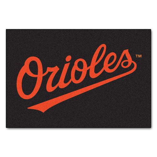 "19"" x 30"" Black and Orange MLB Baltimore Orioles Starter Mat Rectangular Area Rug - IMAGE 1"