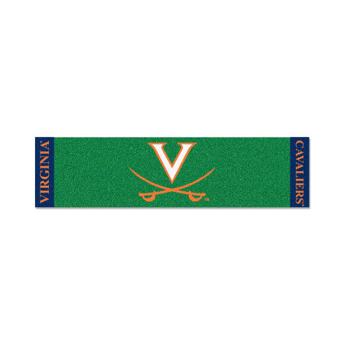 """18"""" x 72"""" Green and Orange NCAA University of Virginia Cavaliers Putting Welcome Door Mat - IMAGE 1"""