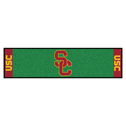 """18"""" x 72"""" Green and Red NCAA University of Southern California Trojans Golf Putting Mat - IMAGE 1"""