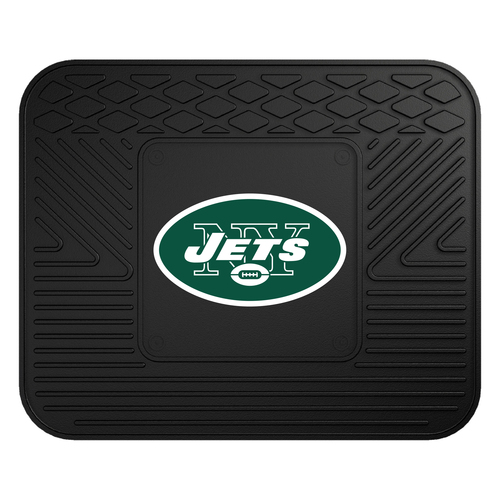 """14"""" x 17"""" Black and Green NFL New York Jets Rear Car Seat Utility Mat - IMAGE 1"""