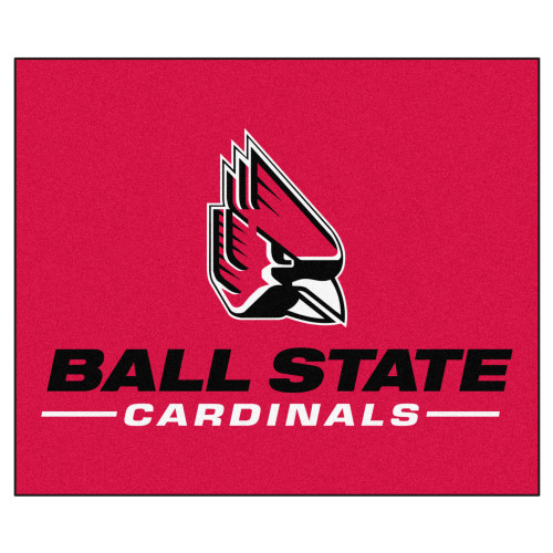 5' x 6' Pink and Black NCAA Ball State University Cardinals Rectangular Outdoor Area Rug - IMAGE 1