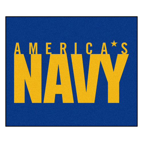 5' x 6' Blue and Yellow Contemporary U.S. Navy Rectangular Outdoor Area Rug - IMAGE 1