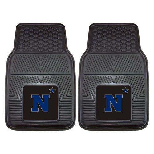 "Set of 2 Black and Blue NCAA U.S. Naval Academy Car Mats 17"" x 27"" - IMAGE 1"