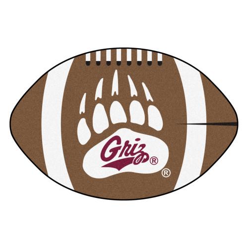 NCAA University of Montana Grizzlies  Football Shaped Mat Area Rug - IMAGE 1
