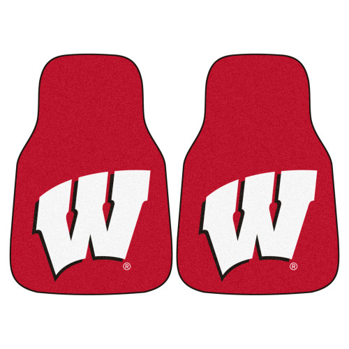 """Set of 2 Red and White NCAA University of Wisconsin Badgers Carpet Car Mats 17"""" x 27"""" - IMAGE 1"""
