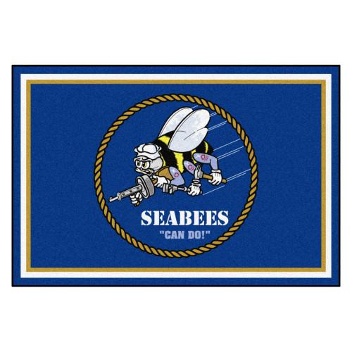 4.9' x 7.3' Blue and White U.S. Navy Seabees Non-Skid Plush Area Rug - IMAGE 1