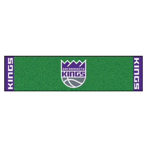 """18"""" x 72"""" Green and Purple NBA Sacramento Kings Rectangular Golf Putting Mat - IMAGE 1"""