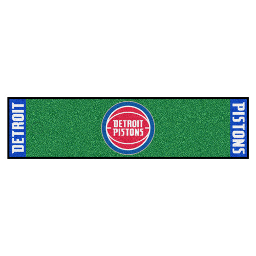"""18"""" x 72"""" Green and Red NBA Detroit Pistons Golf Putting Mat - IMAGE 1"""