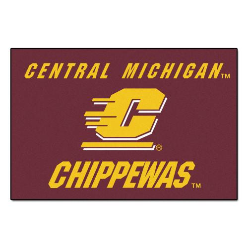 "19"" x 30"" Brick Red and Yellow NCAA Central Michigan University Chippewas Starter Rectangular Outdoor Mat - IMAGE 1"