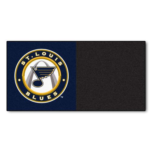 "20pc Black and White NHL St. Louis Blues Team Carpet Tile Flooring Squares 18"" x 18"" - IMAGE 1"