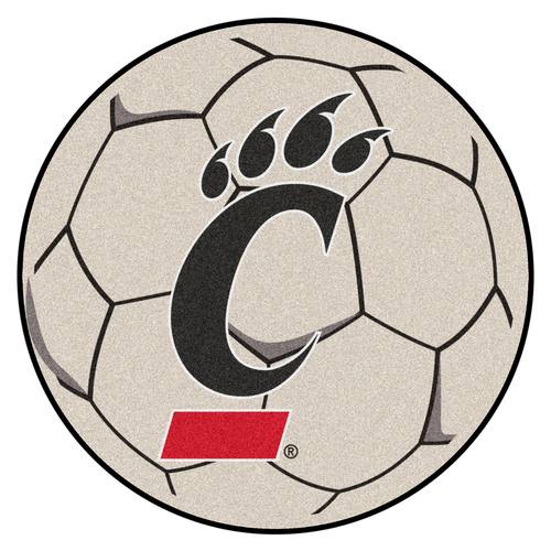 "27"" Ivory NCAA University of Cincinnati Bearcats Soccer Ball Mat - IMAGE 1"