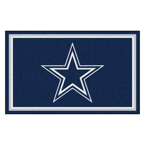 3.6' x 5.9' Blue and White NFL Dallas Cowboys Rectangular Plush Area Rug - IMAGE 1