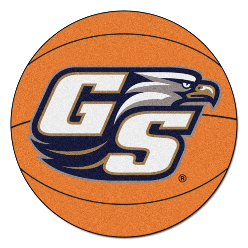 "27"" White and Blue NCAA Georgia Southern University Eagles Basketball Mat Area Rug - IMAGE 1"