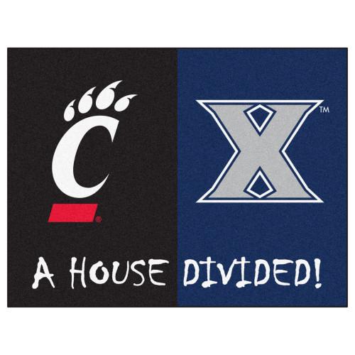 "33.75"" x 42.5"" Black NCAA House Divided Xavier and Cincinnati Rectangular Mat - IMAGE 1"