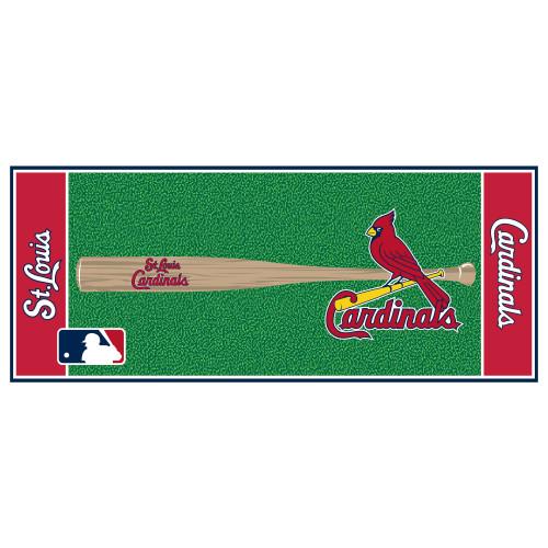 "30"" x 72"" Pink and Green MLB St. Louis Cardinals Non-Skid Baseball Mat Area Rug Runner - IMAGE 1"