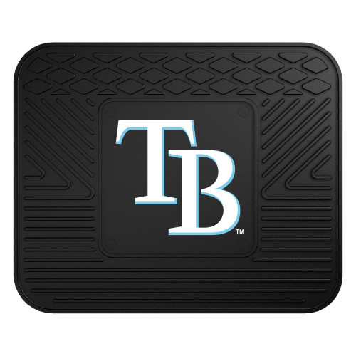 """14"""" x 17"""" Black and White MLB Tampa Bay Rays Heavy Duty Rear Car Seat Utility Mat - IMAGE 1"""