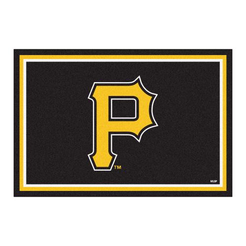 4.9' x 7.3' Black Rectangular MLB Pittsburgh Pirates Plush Area Rug - IMAGE 1