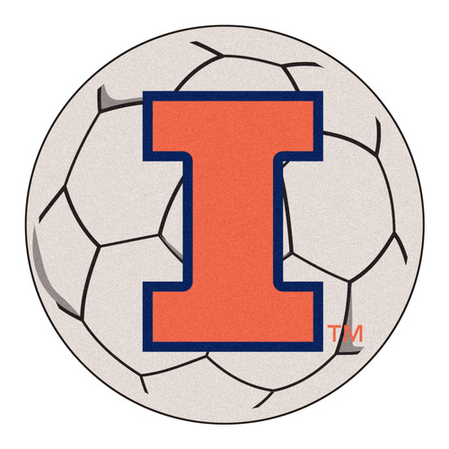 "27"" White and Orange NCAA University of Illinois Fighting Illini Soccer Ball Door Mat - IMAGE 1"