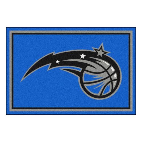 4.9' x 7.3' Blue and Black NBA Orlando Magic Rectangular Plush Area Rug - IMAGE 1