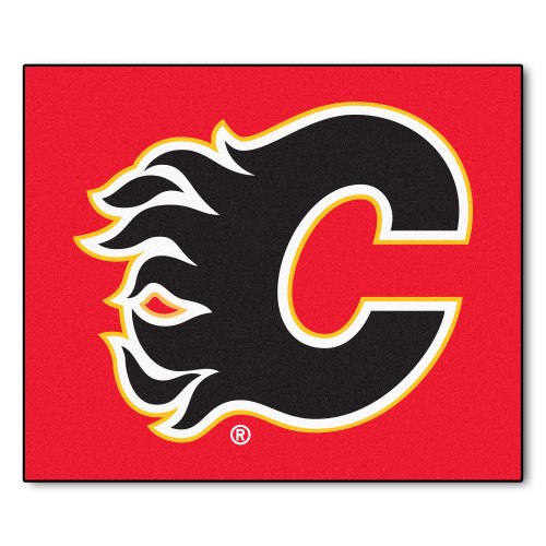 5' x 6' Red and White NHL Calgary Flames Tailgater Mat Outdoor Area Rug - IMAGE 1