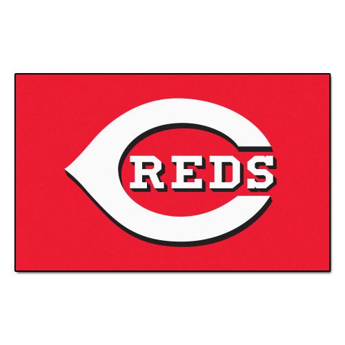 "59.5"" x 94.5"" White MLB Cincinnati Reds Ulti-Mat Rectangular Outdoor Area Rug - IMAGE 1"