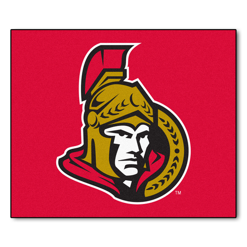 5' x 6' Red and Brown NHL Ottawa Senators Tailgater Mat Rectangular Outdoor Area Rug - IMAGE 1