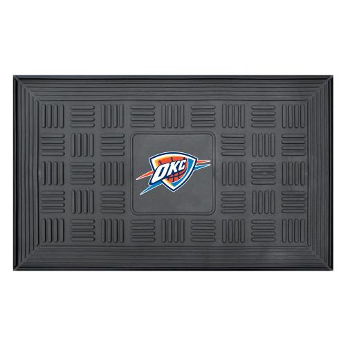 "19.5"" x 31.25"" Blue and Red NBA Oklahoma City Thunder OKC Icon 3-D Team Medallion Doormat - IMAGE 1"