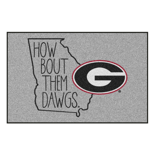 "19"" x 30"" Gray and Black NCAA University of Georgia Bulldogs Starter Mat Rectangular Area Rug - IMAGE 1"
