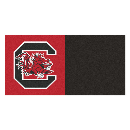 "20pc Black and Red NCAA University of South Carolina Gamecocks Team Carpet Tile Set 18"" x 18"" - IMAGE 1"