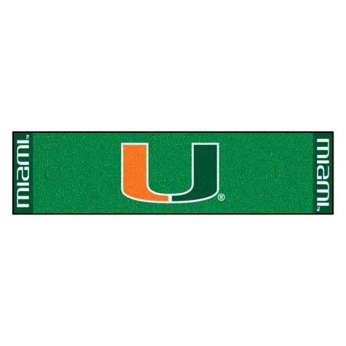 "18"" x 72"" Green and Orange NCAA University of Miami Hurricanes Golf Putting Mat - IMAGE 1"