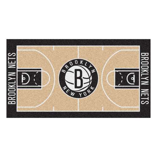 """29.5"""" x 54"""" Black and Brown NBA Brooklyn Nets Court Large Mat Area Rug Runner - IMAGE 1"""