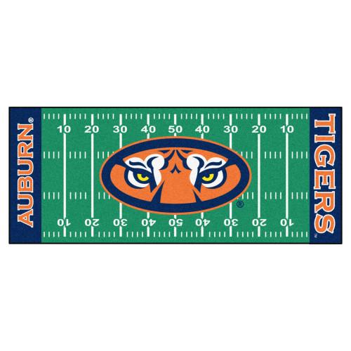 2.5' x 6' Green and Blue NCAA Auburn University Tigers Football Field Area Rug Runner - IMAGE 1