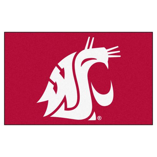 "59.5"" x 94.5"" Red and White NCAA Washington State University Cougars Mat Rectangular Area Rug - IMAGE 1"