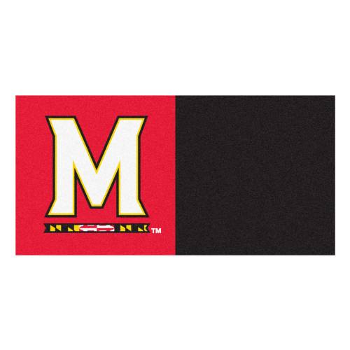 "20pc Red and Black NCAA University of Maryland Terps Team Carpet Tile Set 18"" x 18"" - IMAGE 1"