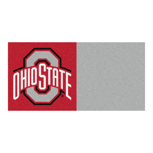 "20pc Red and Gray NCAA Ohio State University Buckeyes Team Carpet Tile Set 18"" x 18"" - IMAGE 1"