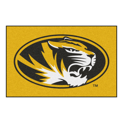 "19"" x 30"" Yellow and Black NCAA University of Missouri Tigers Starter Mat Rectangular Area Rug - IMAGE 1"