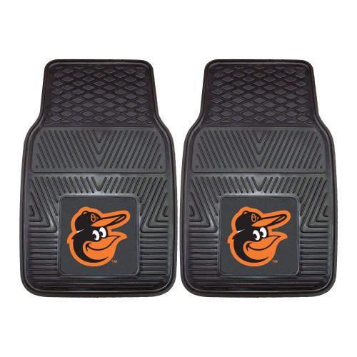 "Set of 2 Black and Orange MLB Baltimore Orioles Car Mats 17"" x 27"" - IMAGE 1"