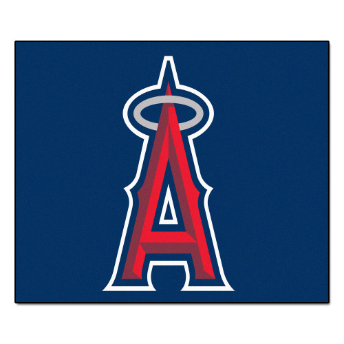 """59.5"""" x 71"""" Blue and Red MLB Los Angeles Angels Tailgater Mat Outdoor Area Rug - IMAGE 1"""