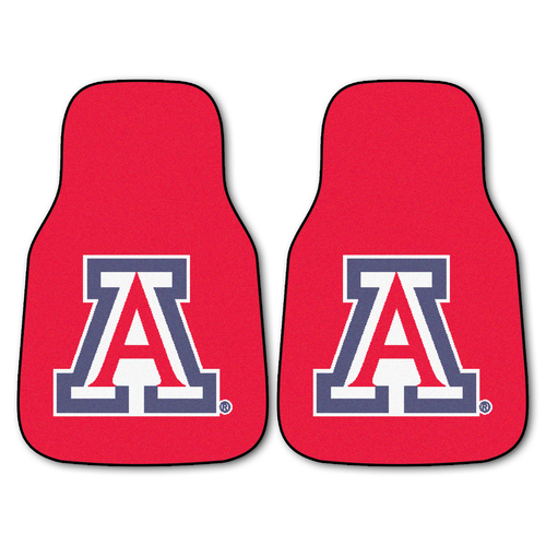 "Set of 2 Red and White NCAA University of Arizona Wildcats Carpet Car Mats 17"" x 27"" - IMAGE 1"
