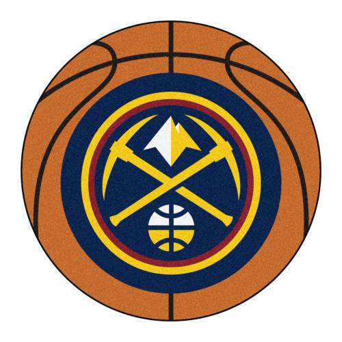 "27"" Orange and Yellow NBA Denver Nuggets Basketball Round Doormat - IMAGE 1"