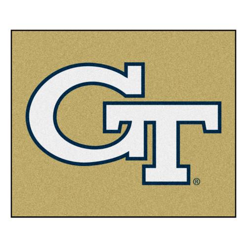 4.9' x 5.9' Beige and White NCAA Georgia Tech Yellow Jackets Ramblin Wreck Tailgater Rectangular Mat - IMAGE 1