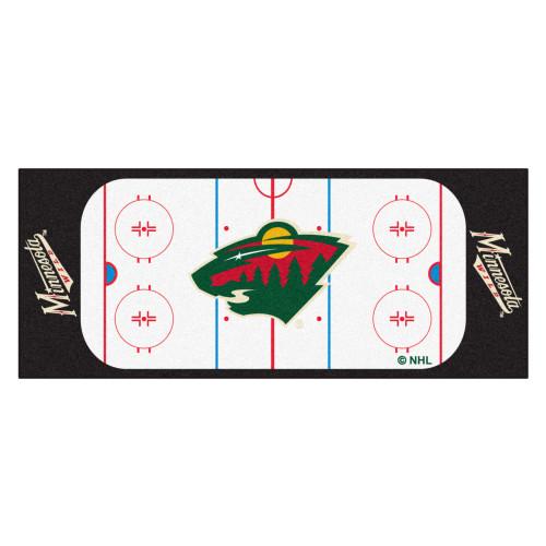 "30"" x 72"" Black and White NHL Wild Rink Non-Skid Mat Area Rug Runner - IMAGE 1"