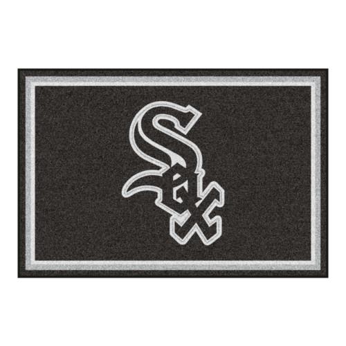 4.9' x 7.3' Black MLB Chicago White Sox Plush Non-Skid Area Rug - IMAGE 1