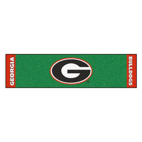 "18"" x 72"" Green and Black NCAA University of Georgia Bulldogs Golf Putting Mat - IMAGE 1"